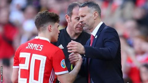 Daniel James (L) and Wales manager Ryan Giggs