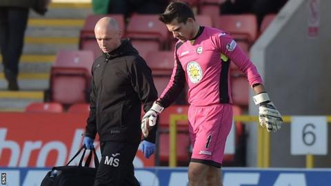 Partick Thistle goalkeeper Tomas Cerny limps off against Hamilton Academical