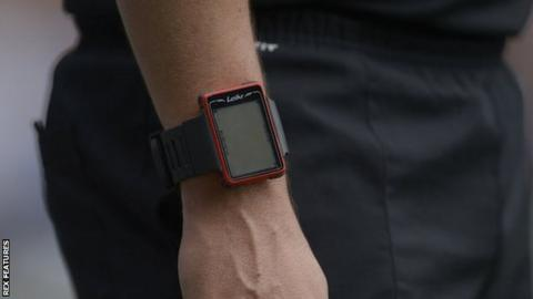 Match officials wear a wristwatch which confirms whether the goal has been scored