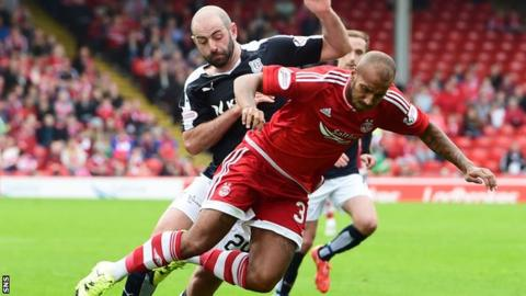 Josh Parker (right) came off the bench for Aberdeen against Dundee