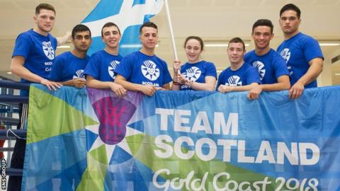 Eight of Scotland's nine boxers pose for pictures at November's team announcement