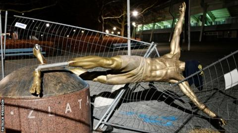 Ibrahimovic statue overturned in Malmo