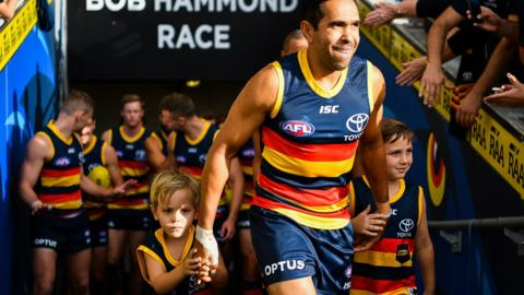 ADELAIDE, AUSTRALIA - APRIL 21: Eddie Betts of the Crows walks onto the ground for his 300th AFL game during the round 5 AFL match between Adelaide and Gold Coast at Adelaide Oval on April 21, 2019 in Adelaide, Australia. (Photo by Daniel Kalisz/Getty Images)