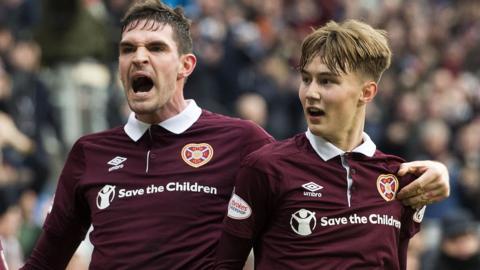 Kyle Lafferty and Jamie Cochrane celebrate the latter's goal