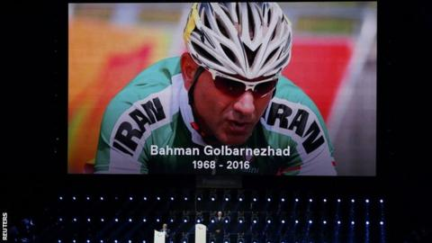 Bahman Golbarnezhad died following a crash in the Men's C4-5 road race on Saturday