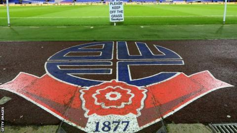 Bolton Wanderers general view of badge at Macron Stadium