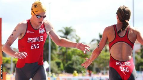 Olympic silver and bronze medallists Jonathan Brownlee (left) and Vicky Holland (right