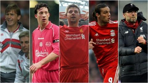 Kenny Dalglish, Robbie Fowler, Steven Gerrard, Andy Carroll and Jurgen Klopp