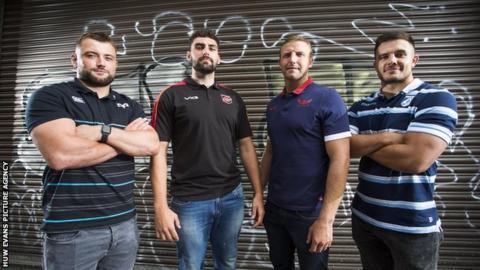 Sam Parry (Ospreys), Cory Hill (Dragons), Hadleigh Parkes (Scarlets), Ellis Jenkins (Cardiff Blues)