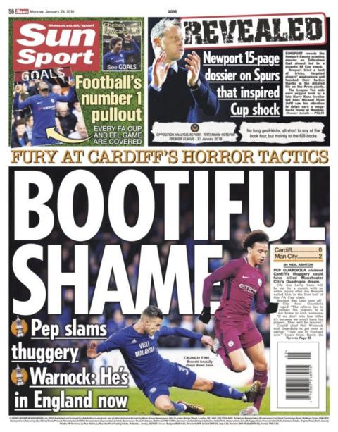 Monday's Sun back page