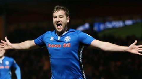 Steve Davies celebrates scoring for Rochdale