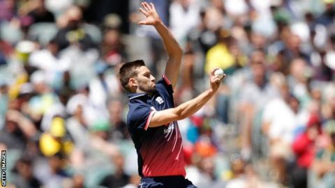 England bowler Mark Wood shapes to release the ball in the first ODI against Australia