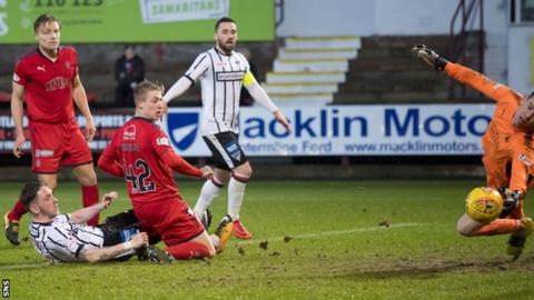 Dunfermline's Declan McManus (on ground) scores against Falkirk