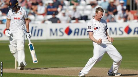 Yorkshire bowler Steven Patterson celebrates taking the wicket of Tom Westley