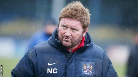 Ards manager Niall Currie saw his side relegated from the top flight in 2014