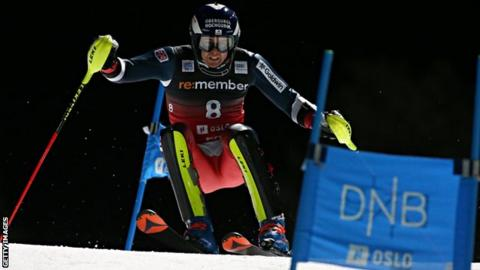 Dave Ryding in action during the Alpine Ski World Cup in Oslo Norway