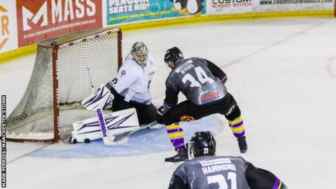 Manchester Storm's Dane Byers tests Ryan Nie, the Braehead goalkeeper, in Sunday's meeting in Altrincham