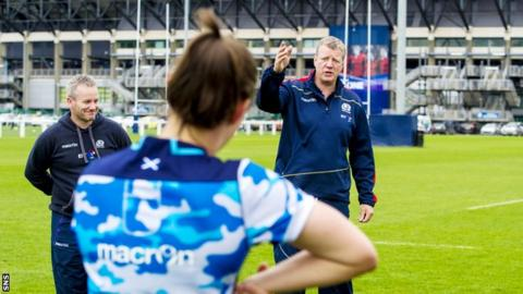 Coach Shade Munro and his Scotland's women rugby team in training