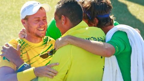 Lleyton Hewitt celebrates Davis Cup win