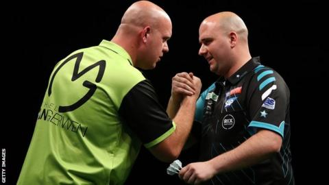 The top eight darts players in the PDC, including world number one Michael van Gerwen, left, and world champion Rob Cross, right, go head-to-head in the Champions League of Darts on Saturday and Sunday