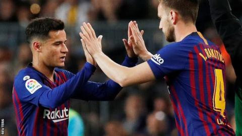 Barcelona 3-1 Rayo Vallecano  Philippe Coutinho backed by Gerard ... 0a8b733341a