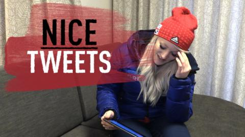 Elise Christie reacts to a message