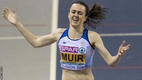 Laura Muir won European indoor gold over 1500m and 3000m at Glasgow's Emirates Arena in March