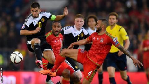Eden Hazard in action for Belgium against Wales in June 2015