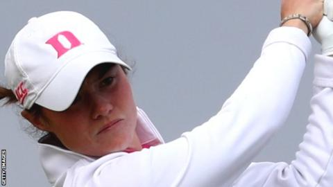 Leona Maguire watches her drive at the fourth hole in Saturday's third round