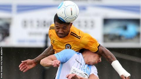 Josh Labadie in action for Newport