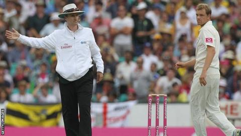 Umpire Billy Bowden calls Australia's Michael Beer for a no-ball in 2011