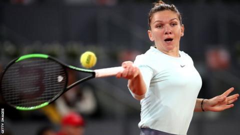 Simona Halep in action against Viktoria Kuzmova at the Madrid Open