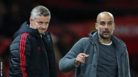 Manchester United manager Ole Gunnar Solskjaer (left) and Manchester City counterpart Pep Guardiola