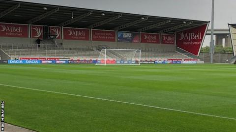 Football posts replaced rugby posts for Thursday's friendly at the AJ Bell Stadium