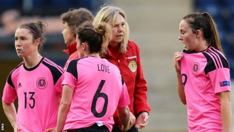 Anna Signeul consoles her Scotland team against Iceland