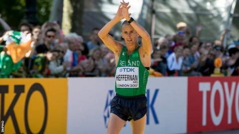 Robert Heffernan completes the 50km walk in London on Sunday