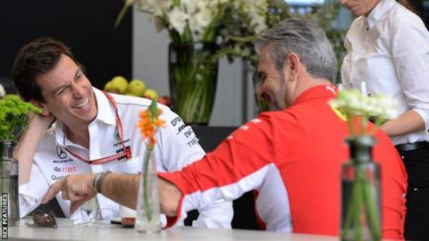 Toto Wolff and Mauricio Arrivabene