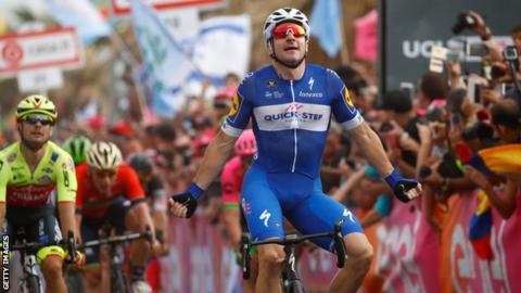 Viviani wins second Giro stage in a row as Dennis keeps pink