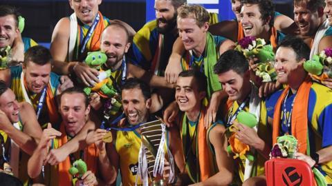 Australia's hockey team celebrate