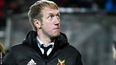 Ostersunds manager Graham Potter celebrates his team's second goal against Athletic Bilbao