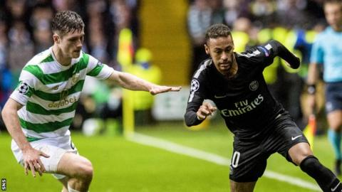Anthony Ralston in action against Neymar in Celtic's September clash with PSG