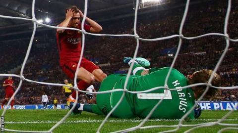 Roma's Cengiz Under is denied by Loris Karius