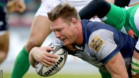 Tom McCartney scores a try against Treviso earlier this month