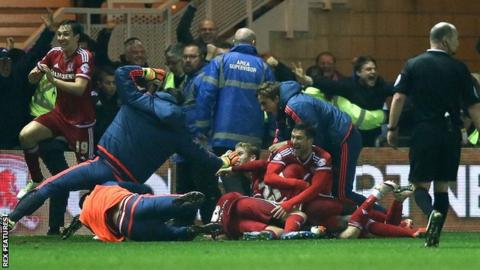 Middlesbrough players and staff celebrate