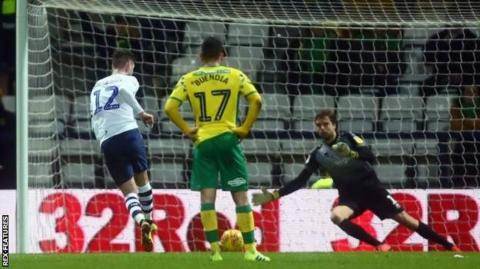 Paul Gallagher's scores a first-half penalty for Preston North End against Norwich City