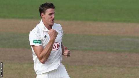 Morne Morkel celebrates a wicket for Surrey