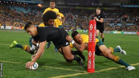 Rieko Ioane scores a try for New Zealand against Australia in Sydney