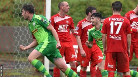 Jason McGuinness celebrates scoring in Cliftonville's 3-0 win at Portadown in September