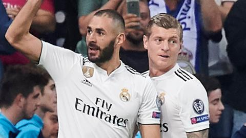 Real Madrid striker Karim Benzema (left) and Toni Kroos