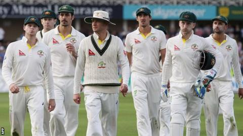 Australia leave the pitch